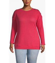 lane bryant women's waffle knit button-shoulder tee 22/24 american beauty