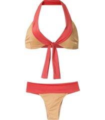 brigitte lace up bikini set - multicolour
