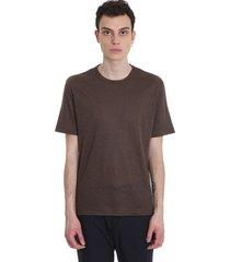 ermenegildo zegna t-shirt in brown cotton and linen