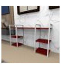 estante industrial aço branco 120x30x68cm (c)x(l)x(a) mdf vermelho modelo ind29vrest