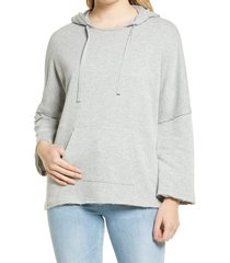 women's caslon easy terry hoodie, size small - grey