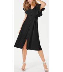 calvin klein front-button a-line midi dress