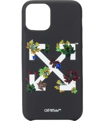 off-white leaf-detail arrows-motif iphone 11 pro case - black