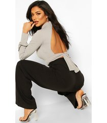 turtle neck tie back top with keyhole front, grey marl