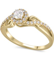 certified diamond (3/8 ct. t.w.) engagement ring in 14k yellow gold