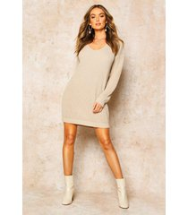 v neck sweater mini dress, stone