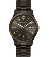 caravelle men's dark gray stainless steel expansion bracelet watch 40mm