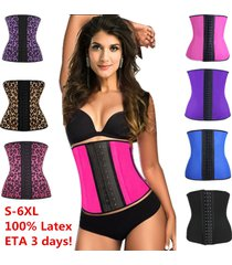 new women latex rubber waist training body shaper cincher underbust corset