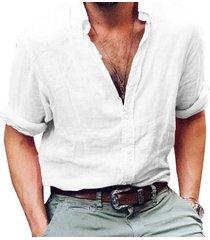 camisas de hombre camisa de manga larga de negocios lino hombre slim-blanco