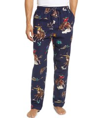 men's polo ralph lauren patterned flannel pajama pants, size small - blue