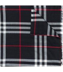 burberry lightweight check wool and silk-blend scarf - blue