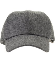 brunello cucinelli hat wool flannel baseball cap