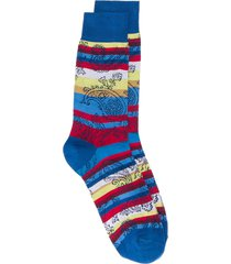 etro striped paisley socks - blue