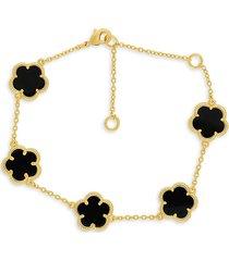 jan-kou women's 14k goldplated onyx clover bracelet