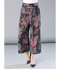 pantaloni a gamba larga con elastico stampato floreale per le donne