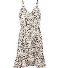cheetah spaghetti jurk beige