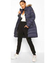 gewatteerde parka jas met stiksels en faux fur capuchon, marineblauw