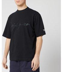 y-3 men's distressed signature short sleeve t-shirt - black - xl
