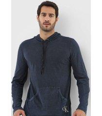 camiseta calvin klein jeans com capuz azul-marinho