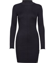 liana ribbed knit dress gebreide jurk zwart superdry