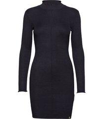 liana ribbed knit dress jurk zwart superdry