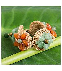 carnelian and quartz flower bracelet, 'floral garland in green' (thailand)