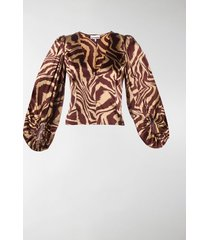 ganni animal print blouse