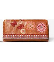 rectangular embroidered coin wallet - brown - u