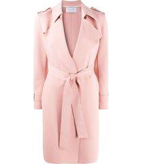 harris wharf london tie-waist trench coat - pink