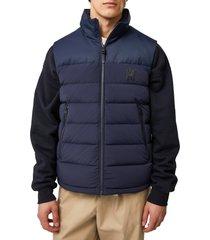 men's mackage bobbie water repellent quilted down vest, size 38 - blue