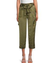karl lagerfeld paris women's satin cropped cargo pants - moss - size 4