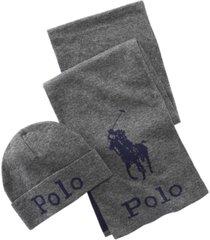 polo ralph lauren men's jacquard hat & scarf set