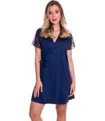 robe estilo sedutor em microfibra e renda azul marinho - es207 - azul marinho - feminino - dafiti
