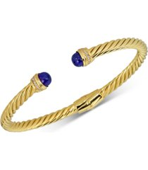 lapis lazuli & diamond (1/10 ct. t.w.) cuff bangle bracelet in 14k gold-plated sterling silver