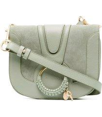 see by chloé woven-ring crossbody bag - green