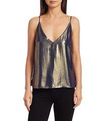 l'agence women's gabriela metallic v-neck cami - silver black - size l