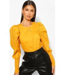 statement sleeve top, mustard