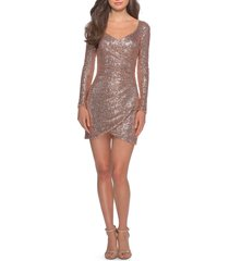 women's la femme long sleeve sequin cocktail dress, size 10 - pink