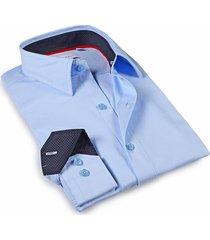levinas men's tailored-fit dress shirt - sky blue - size 17.5