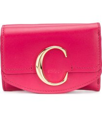 chloé mini c tri-fold wallet - pink