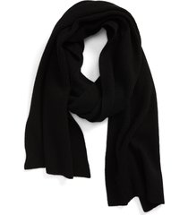 women's ganni recycled wool blend scarf, size one size - black