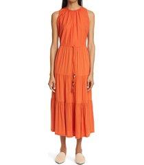 women's max mara kren tiered midi dress, size 4 - orange