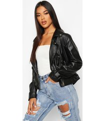 faux leather zip biker jacket, black