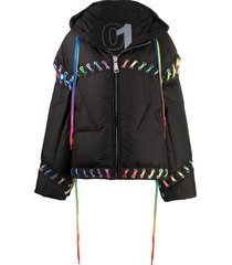 khrisjoy contrasting lace-up puffer jacket - black