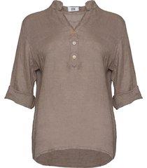 tiffany shirt linen, nougat, 17661
