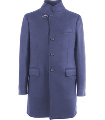fay blue wool button-up coat