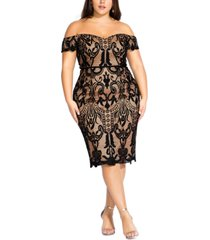 city chic trendy plus size decadent lace off-the-shoulder dress