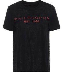 philosophy di lorenzo serafini see-through lace embellished black tee