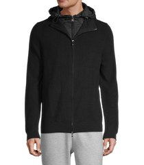 boss hugo boss men's belmo wool-blend hoodie - black - size xl