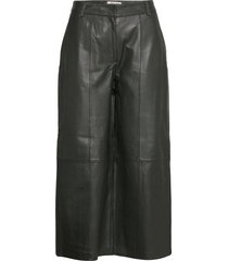 slfesther mw cropped leather pant w leather leggings/byxor grön selected femme